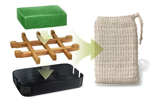 EDARTO® Seifenschale aus Natur-Bambus-Holz in Schwarz mit Abtropfwanne aus Bambusfaser + handgemachte Aloe Vera Seife + Seifensäckchen/Seifenbeutel / 100% natürlicher...