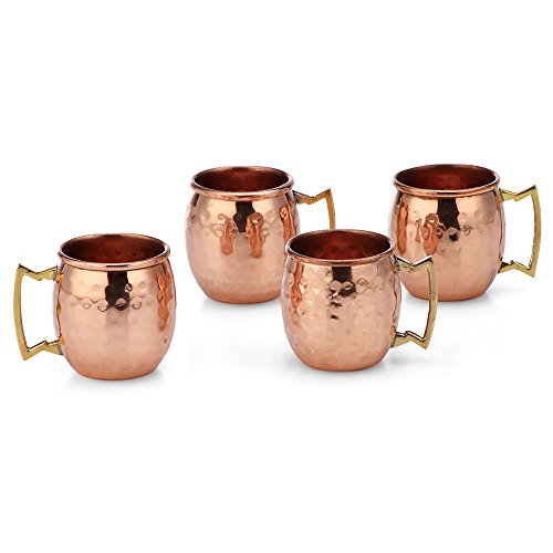 Modern Home Authentic 100% Solid Copper Hammered Moscow Mule Mug 2-Oz Shot Glass - Set of 4