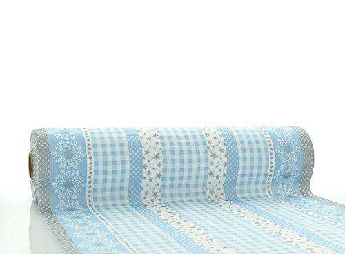 Sovie HORECA Tischläufer Calypso-Stripes in Silber-Blau | aus Linclass® Airlaid | Weihnachtsrolle Advent | 40 cm x 24 m | 1 Stück
