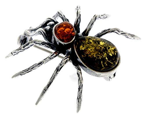 Genuine Mix Baltic Amber & Sterling Silver Exclusive Spider Brooch - 4152M2