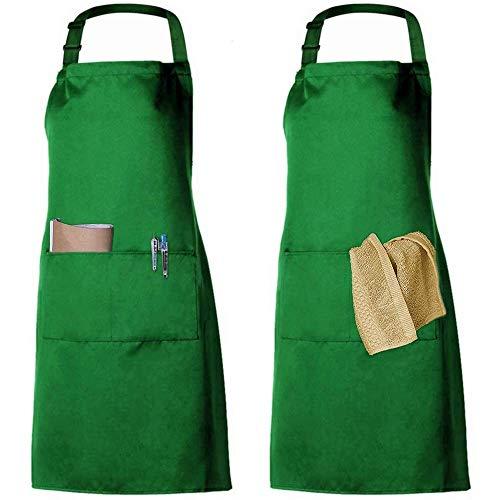 2 Pack Schürze Kochschürze Küchenschürze Latzschürze Verstellbarem Nackenband 100{1a4c6b607d6599f8c42b9b477f61a9387280850abc3c3b5ffbe9baf8f6dbc1ab} Baumwolle für Frauen Männer Chef (Grün)