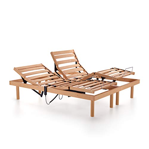 Mobili Fiver, 160x200 36h Electric adjustable double wooden bed, Multi-layered beechwood, Made in Italy