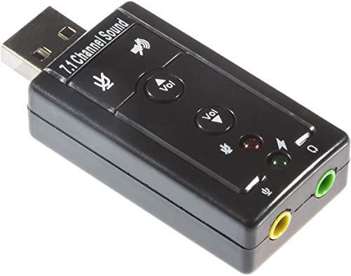 Poppstar Externe Soundkarte USB 7.1, 3D Sound, Surround Sound, 3,5mm Klinken, für Kopfhörer, Lautsprecher, Mikrofone, Plug and Play