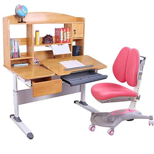 Kinder Schreibtische Kippbaren Tisch und Stuhl for Kinder Art Holztisch Set Arbeitsplatz Höhenverstellbarer Kinder Studie Schreibtisch, Stuhl, Tisch-Set Füttern Reisekinderstuhl ( Farbe : Rosa )
