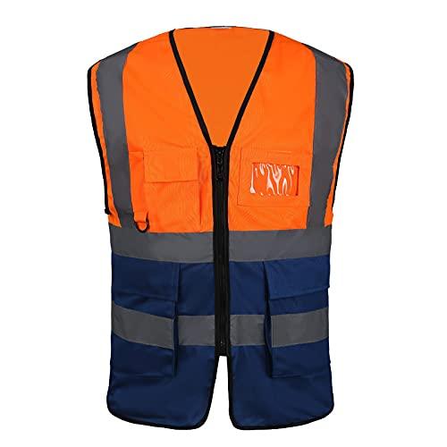 Bei yi Chaleco Reflectante,Chaleco de Trabajo Multibo, Chaleco de Seguridad de Alta Visibilidad 4 Bolsillos y Cremallera Frontal, Chaleco Naranja para Moto de Bicicleta(Talla: L)