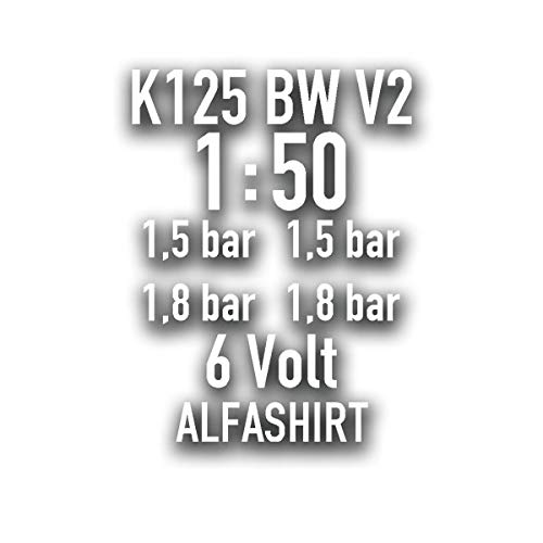 V2 K125 BW Set motorfiets Bundeswehr sticker bandenspanning bike 10x7cm #A4303