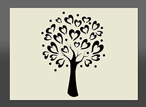297 x 210 mm A4 Schablone Baum mit Herzblättern