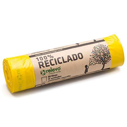 Relevo sacs poubelle jaune 100% recyclés, très résistant 30L, 15 pièces