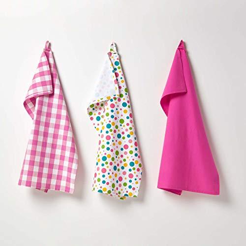 Homescapes – Pur Coton – Torchons Vaisselle – Lot de Trois – À Pois – Multiples Couleurs – Rose Jaune Bleu Vert – 18 x 32 cm - Linge de Cuisine Entièrement Coordonné et Lavable