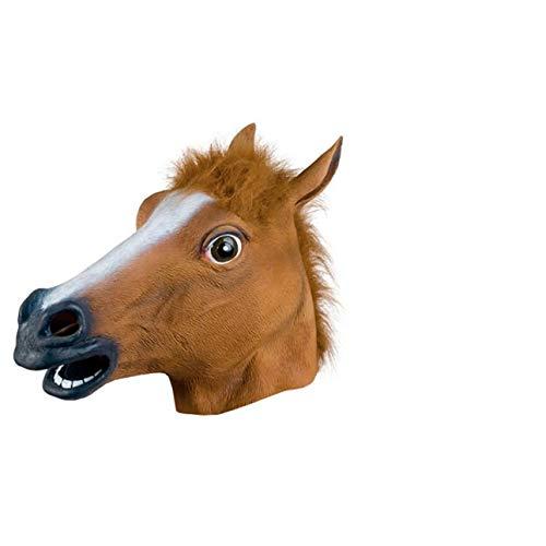 Ballylelly Halloween Maske Ball Cos Latex Pferdekopf Maske Tierkopfbedeckung Pferdemaske Hund Pferd Junma Maske