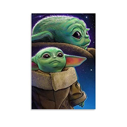 Ghychk Star Wars The Mandalorian Baby Yoda Dekor-Poster, abstrakte Leinwand,...