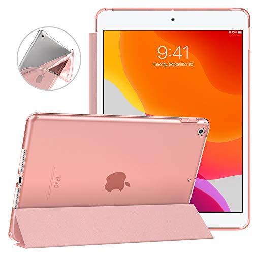 Dadanism Hülle Kompatibel mit Neu iPad 10.2 2019 (7. Generation, 10.2 Zoll) Tablet, Ultra Leichtgewicht Dünne Transluzente weiche TPU Rückseite Smart Schutzhülle, Auto Schlaf/Wach-Funktion - Rose Gold
