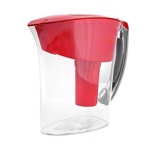 Brita 6-Cup Amalfi Pitcher up to 40 gallons of water (Red)