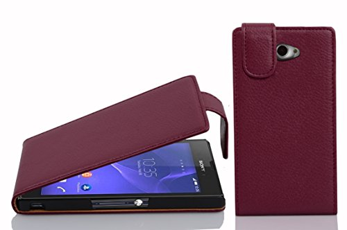 Cadorabo Hülle für Sony Xperia M2 / M2 Aqua in Bordeaux LILA - Handyhülle im Flip Design aus Strukturiertem Kunstleder - Hülle Cover Schutzhülle Etui Tasche Book Klapp Style