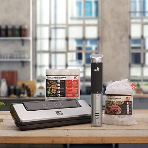 Team Cuisine Sous Vide Starterset für den perfekten Einstieg in die Welt des Vakuumgaren – Set enthält Sous Vide Stick, Isolationskugeln, 3er Folienrollen 20 x 600 cm & Vakuumierer