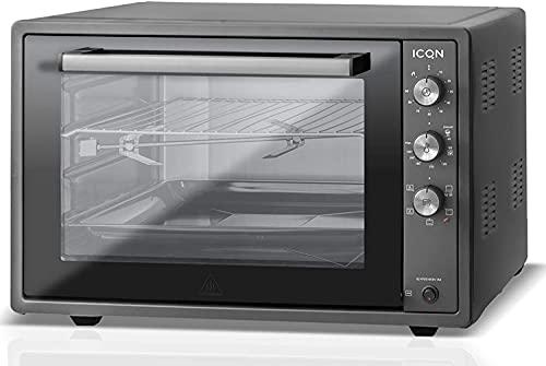 ICQN 60 Litri Mini Forno XXL | Smaltato | Spiedo Girevole | Illuminazione Interna | Ventilato | Forno Per pizza | Doppio Vetro | Funzione Timer | Temperatura da 40° Fino a 230° | 1800 W Nero