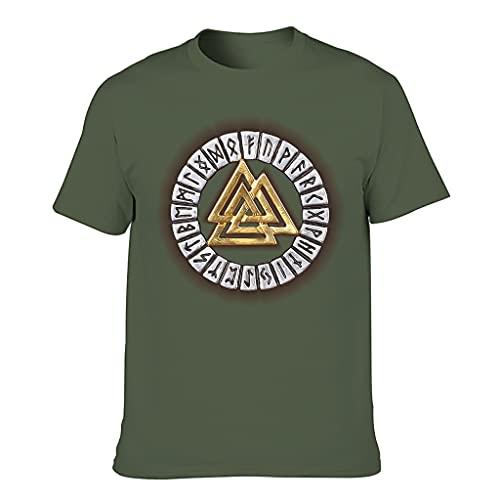 STELULI Camiseta de algodón para hombre Viking Valknut Colorido Ajuste Moderno - Diseño Tops