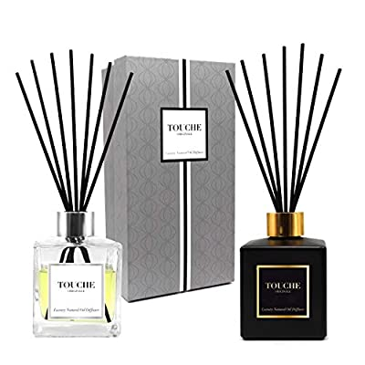 TOUCHE ORIGINALE Luxury Natural Essential Oil Reed Diffuser. Long Lasting Scented Fragrance - 90 Days. Office & Home Aromatherapy. Glass Bottle, 10 Sticks. Alcohol-Free (Lavender, Black Bottle)