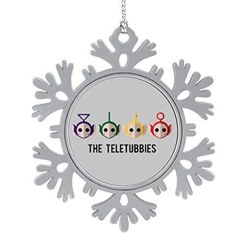 BEDKAGD Los Teletubbies adornos de aleación de copo de nieve para colgar, recuerdos de Navidad, decoraciones navideñas personalizadas.