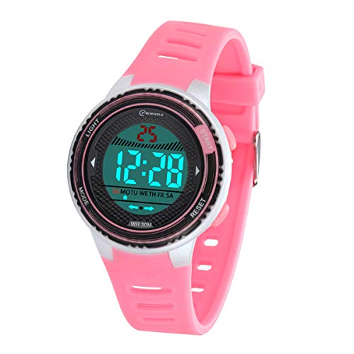 Kinder Digitaluhr, Funktionelle wasserdichte Jungenuhr Mädchen mit Zeit, Datum, Woche, Hintergrundbeleuchtung, Warnung, Stoppuhr Digital Uhr für Kinder (Rosa 8563)