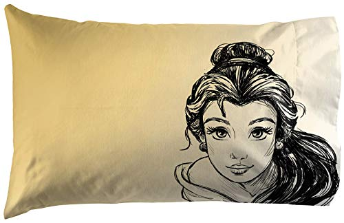 Jay Franco Disney Princess Belle Sketch 1 Single Reversible Pillowcase - Double-Sided Kids Super Soft Bedding (Official Disney Product)