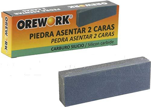 Orework 399235 Piedra Asentar 2 Caras Oxido Aluminio + Afilador Metalico Cuchillos Tiejeras, 150 mm