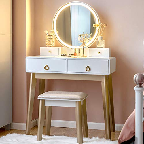 Modern Makeup and Vanity Table with Touchscreen Mirror