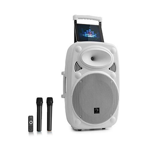 "auna Streetstar - Mobile PA-Anlage Musikanlage, Bluetooth, USB-Port, SD, MP3, AUX-In, Akku, LED-Display, (15\"" (38 cm) Subwoofer, max. 1000 W, weiß"