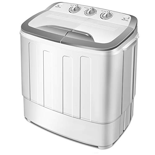 Giantex Washing Machine, Portable Clothes Washing Machines, 13lbs Wash and Spin Cycle, Semi-Automatic Laundry Machine, Compact Washer and Dryer Combo, Twin Tub Mini Washer Machine for Apartment, Camping, Dorms and RV
