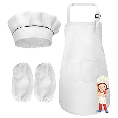 NETUME Set Grembiule e Maniche con Cappello da Cuoco per Bambini, Grembiule Bianco con Tasche Regolabili Grembiule da Cuoco per Ragazze/Ragazzi, Completo da Cuoco per Bambini per Cucinare