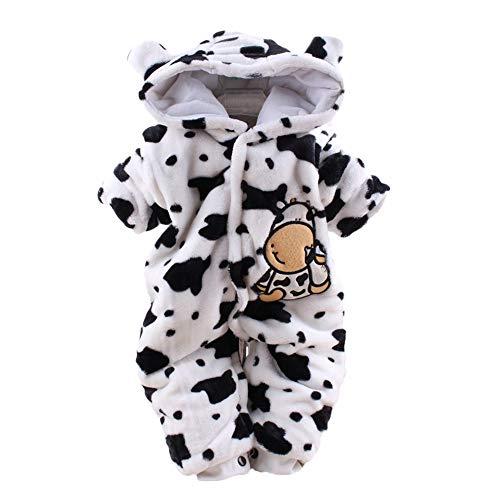 ODJOY-FAN-Neonato Vestiti del Pagliaccetto Incappucciati della Tuta Velluto Mucca da Latte Fumetto- Ragazze dei Neonati Bambini Accappatoio Fumetto Animali Pigiama Asciugamano Abbigliamento