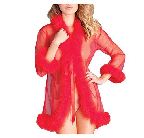 ShineGown Sheer Tüll Kurze Feder Robe Sexy Dessous Nachtwäsche Bademantel mit Fellschnitt