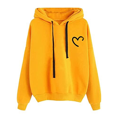 BIKETAFUWY Sudadera con capucha para adolescentes y niñas con estampado de patchwork, de manga larga, con bolsillo, amarillo, L