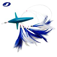 OCEAN CAT Trolling Fishing Lures Daisy Chain Bird Feather Teaser for Fishing with Rigged Hook 7/0 for Mahi, Tuna, Wahoo and More (Blue)