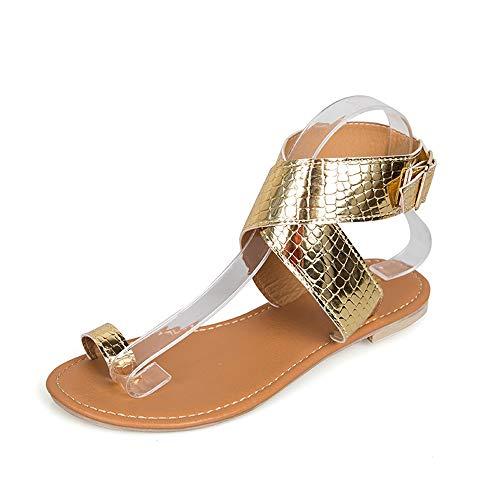 DEELIN Sandali da Donna Estate Elegante Casual Fibbia Infradito Comfort Spiaggia Tacco Basso Peep Toe Cinturino alla Caviglia Scarpe Gladiator Oro Argento EU35-EU43