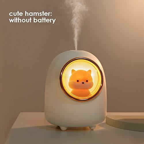 Humidificador Hamster Air Humidificador Lindo Espacio cápsula de Escritorio Difusor de Agua Dormitorio Dormitorio Noche Luz Fabricante Ambientador Casa (Color : Hamster no Battery)