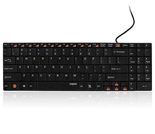Rapoo N7200 kabelgebundene ultraschlanke Tastatur mit Edelstahl Gehäuse, ultraschlankem Design, USB-Anschluss, schwarz