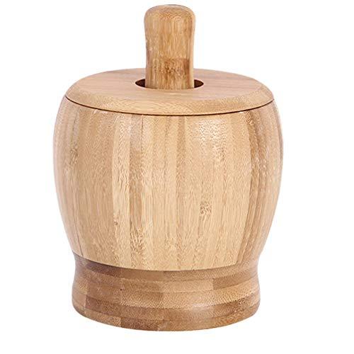 YARNOW Juego de Mortero de Bambú Y Mortero Cuenco de Mortero de Cocina Especias Hierbas Pesto Molinillo con Tapa Tamaño L