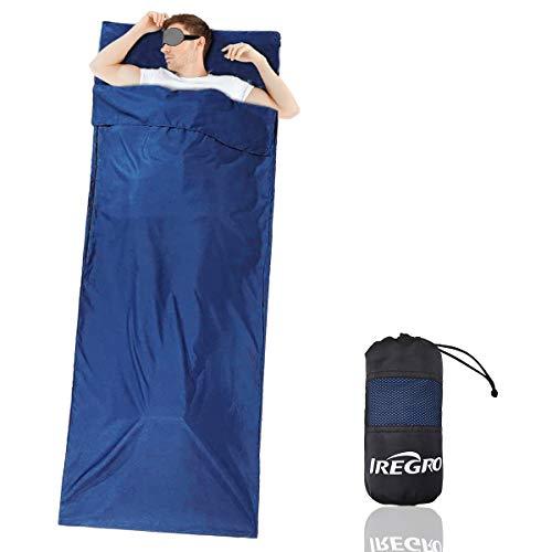 IREGRO Saco de Dormir de Forro Saco Sábana de Viaje Fundas para Saco de Dormir Camping Impermeable Portátil 220X90CM para Camping,Hotel,Senderismo,Mochilero y Actividades al Aire Libre
