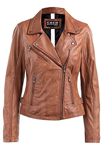COCO BLACK LABEL since1986 Damen Lederjacke Mila im modernen Biker Style, Farbe:Cognac Braun, Größe:40
