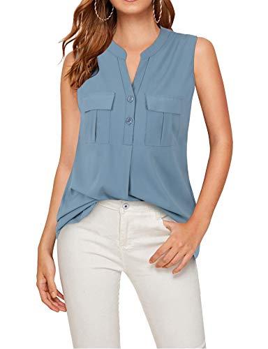 Siddhe Elegant Bluse Damen Chiffon Blusen Ärmellos Hemd Oberteile Shirt Tops mit Tasche für Damen Sommer, Blau Small