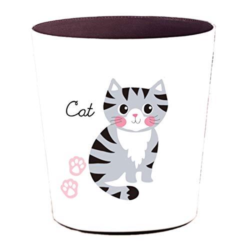 Foxom 10L PU Leder Cartoon Tier Mülleimer Abfalleimer Müllsammler Papierkorb Motif für Kinderzimmer/Büro/Küche/Schlafzimmer (Katze)