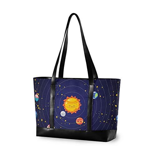 Planeten of Solar System Laptop Tasche für Frauen 15,6 Zoll Canvas Large Laptop Tote Bag Arbeit Schule Business Computer Tasche für Laptop