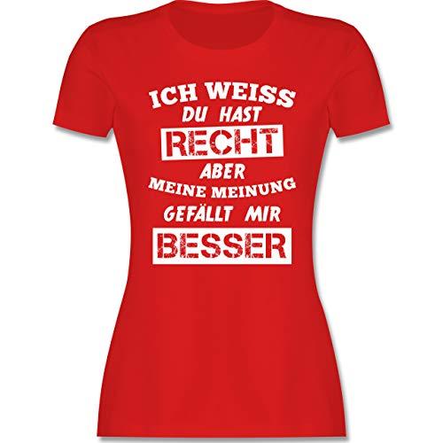Sprüche - Meine Meinung Besserwisser - M - Rot - lustige Damen Shirts rosa - L191 - Tailliertes Tshirt für Damen und Frauen T-Shirt