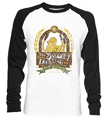 The Snuggly Duckling - Tangled Unisex Camiseta De Béisbol Manga Larga Hombre Mujer Blanca Negra