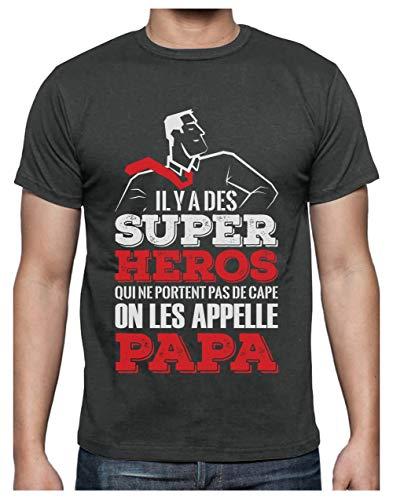 Green Turtle T-Shirts Super Papa Mon Hero Cadeau pour Papa Fete des Peres T-Shirt Homme X-Large Grus Foncé