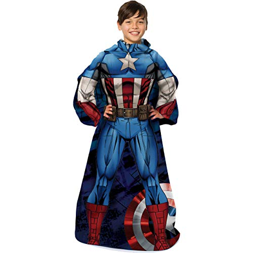 Marvel's Captain America First Avenger Youth Comfy Throw Blanket with Sleeves 48 x 48 Multi Color