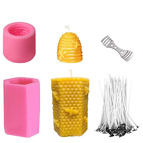 Moldes 3D de Silicona, MOPOIN Molde Velas 3D Forma de Panal Molde con 50 mechas de Vela y Soporte de Metal para Hacer Velas de Cera de Abeja casera, jabones, Barras de loción, chocolate, gelatina