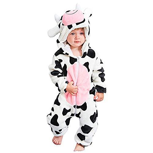 Bébé Barboteuse Enfant Flanelle Pyjama Filles Combinaison Garçons Grenouillères Costume Tenue d'hiver Style Animal (Cow,80cm)