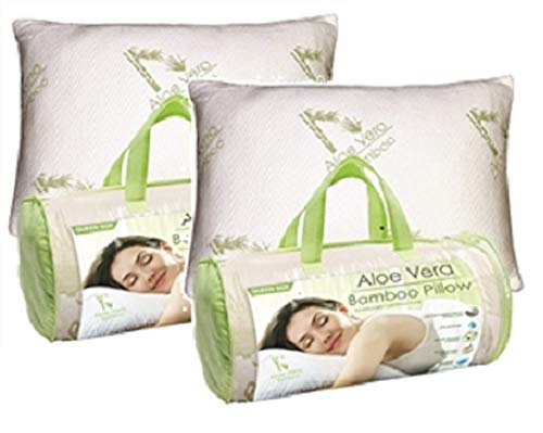 Homelux Comfortable Hypoallergenic Aloe Vera Bamboo Pillow with Memory Foam, Queen Size - Set of 2!